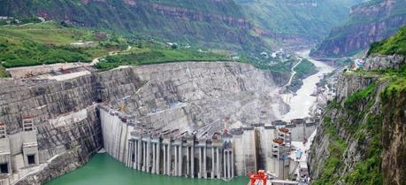 The Xiluodu Dam is an arch dam on the Jinsha River in China. (Credit: Voith)