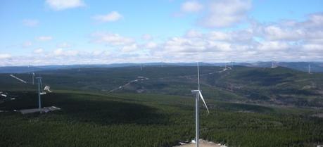 Caribou Wind Park as seen from the top of one of the turbines.