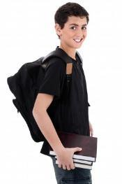Boy Carrying Is Backpack Properly