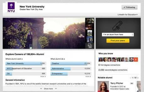 LinkedIn university pages