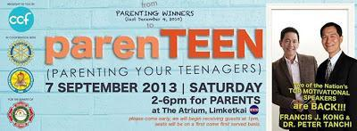 Win free tickets to ParenTEEN with Mr. Francis Kong and Dr. Peter Tanchi