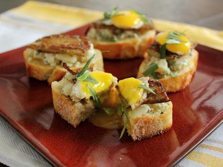 Breakfast Crostini with French Toast Style Broccoli Stalks, Gorgonzola, Maple Syrup, Tarragon and Quail Eggs
