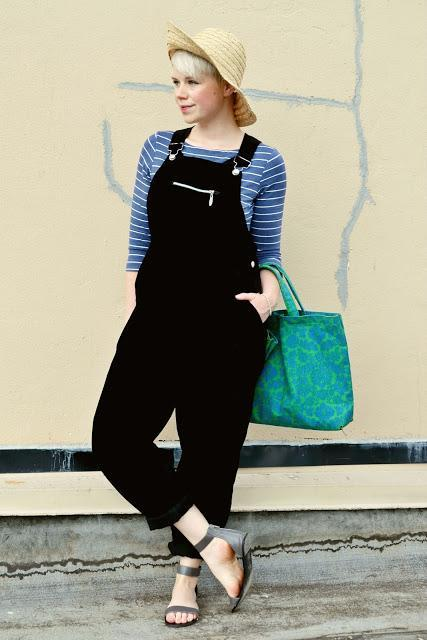 fall fashion, summer fashion, accessorize, styling, advice, tips, hat, overalls, red lips, street style, seattle, short blonde hair