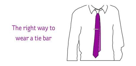 how to wear a tie bar slanted
