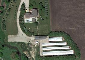 Aerial view of the Morris, IL fur farm