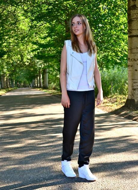 topshop biker waistcoat vest white leather h m trend silk shiny trousers  pants nike dunk sky high ... 8afd549b4