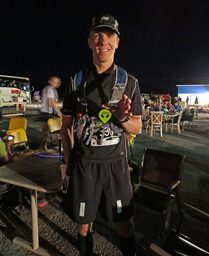 Mike Sohaskey with his hard-earned medal after finishing E.T. Full Moon Midnight Marathon 2013