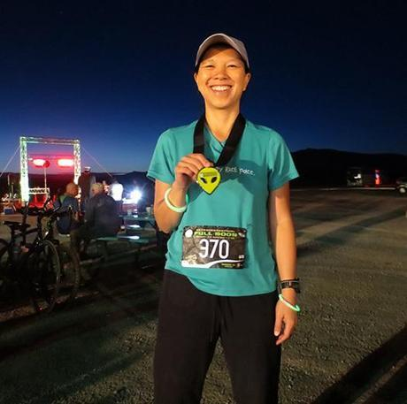 Katie after finishing E.T. Full Moon 10k