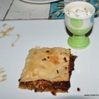 Baklava with gulkand icecream