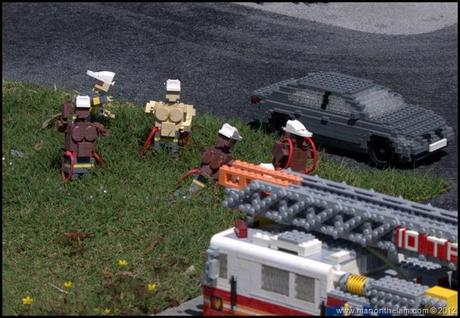 lego firetruck, lego fireman, Beefy shirtless Firemen in a field, Legoland Florida, Aeroplan Welcome Aboard Event