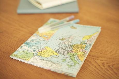 Cover a notebook with a map