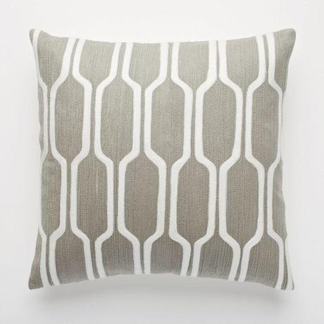 Honeycomb Crewel Pillow Cover – Platinum