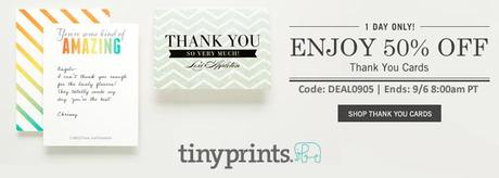 tiny prints deal of the day 50 off thank you cards paperblog