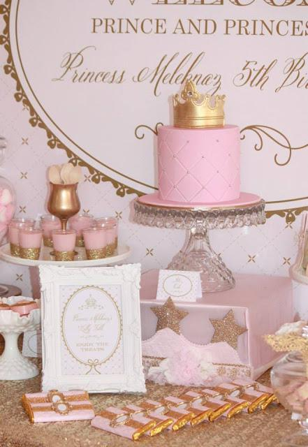 Gold and Pink Princess Themed Birthday Party by Couture Event Styling ...