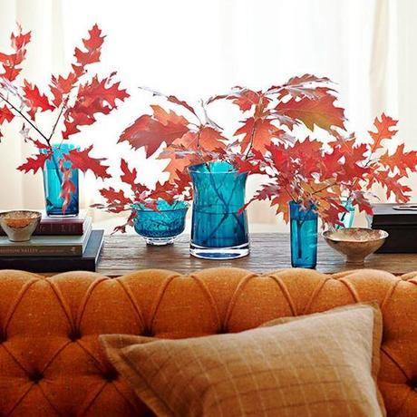 Decorating Home During Fall with Leaves and Bluse Vases