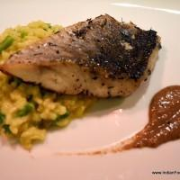 seared sea bass fillet with asparagus risotto