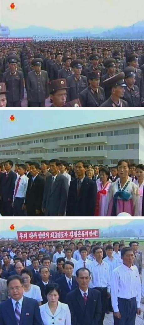 KPISF and KPA construction personnel, along with new residents, attend the U'nha Scientists' Street grand opening in Pyongyang on 11 September 2013 (Photos: KCTV screengrabs).