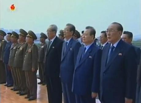 Senior officials of the DPRK leadership attend the ceremony including KWP Secretaries Kim Ki Nam (4th R), Choe Tae Bok (3rd R), Pak To Chun 2nd R) and SPA Presidium Vice President Yang Hyong Sop (R) (Photos: KCTV screengrabs).