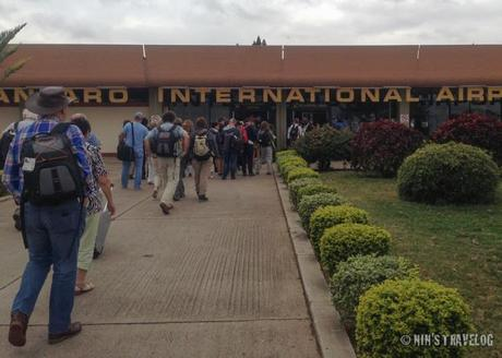 After the airplane landed, we had to walk to the arrival terminal of Kilimanjaro International Airport