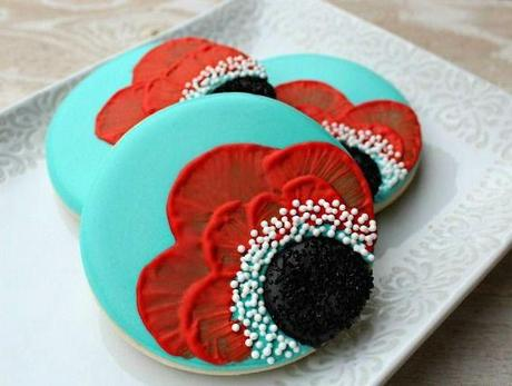 Poppy Theme Wedding Cookies