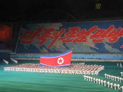 north korea flag mass games