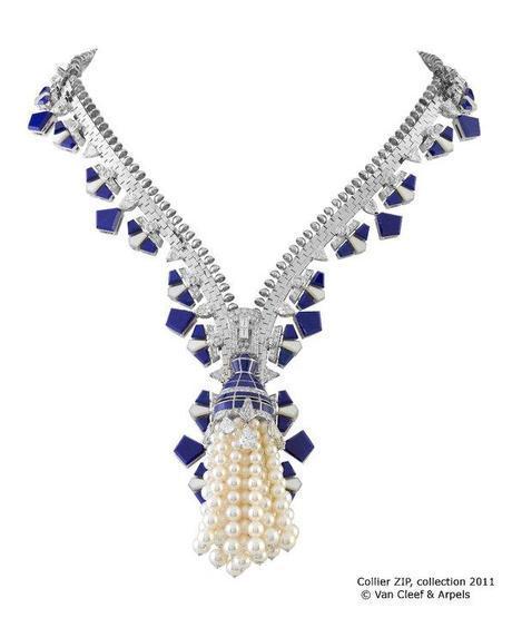 Van Cleef & Arpels Collier Zip with cultured pearls diamonds and lapis lazuli