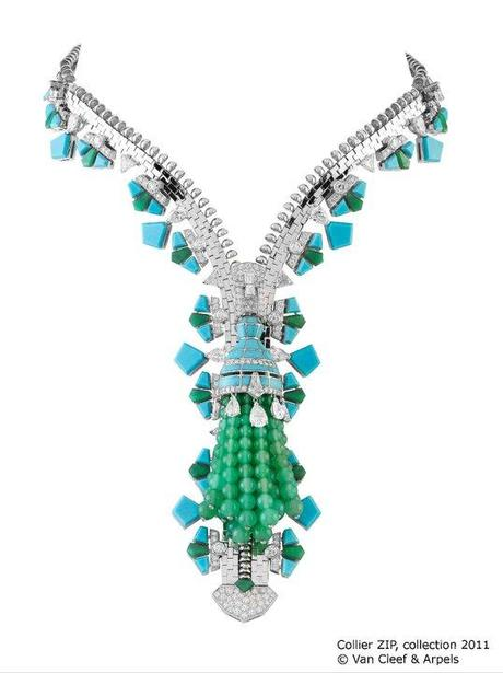 Van Cleef and Arpels Zipper necklace in turquoise diamond and chrysoprase