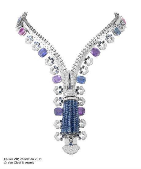 Sapphire and diamond Van Cleef and Arpels Zip necklace