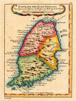 English: map of Grenada, Caribbean