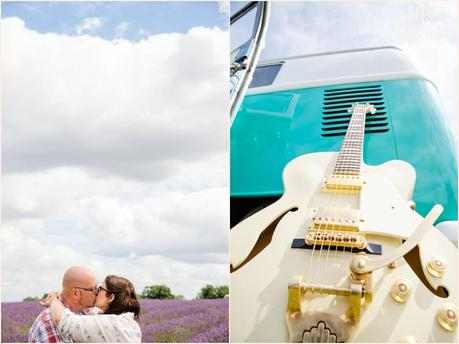 Photographs of UK rocker couple engagement shoot in lavender field with a white electric guitar