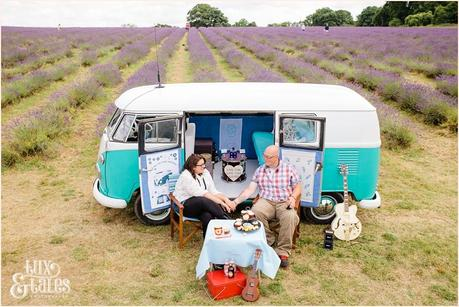 VW Camper van engagement shoot with alternative couple in a lavender field
