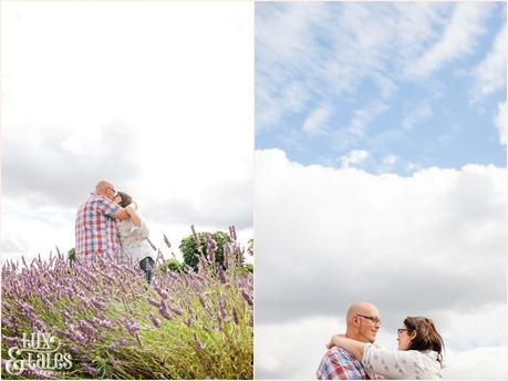 Two photographs of UK lavender field engagement shoot with alternative rocker couple