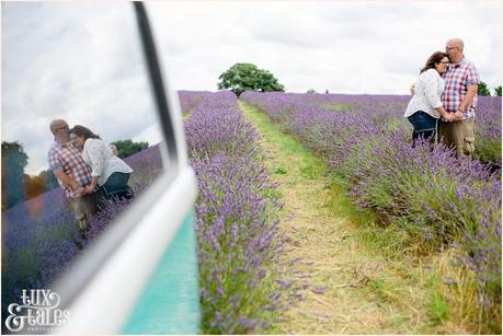 Reflection pose for engagement shoot in UK lavender field