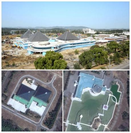The Munsu Swimming Complex under construction in Pyongyang (top) is modeled on the swimming and entertainment facilities at the Kim family's residential compound in Ryongso'ng District in Pyongyang (Photos: Rodong Sinmun and DigitalGlobe).