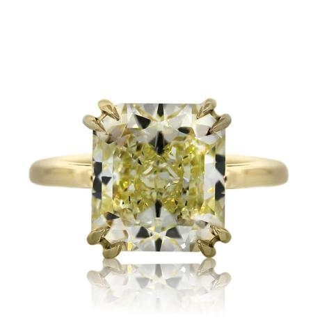 7 Carat Radiant Cut Fancy Yellow Diamond Engagement Ring in Yellow Gold