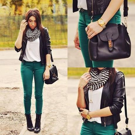 Helloquella: #green Pants, #striped Scarf Cute Outfit - Paperblog