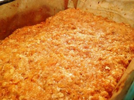 freshly baked golden tray of flapjack for millionaire banoffee recipe great bloggers bake off gbbo british