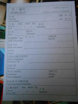 DPRK entry card