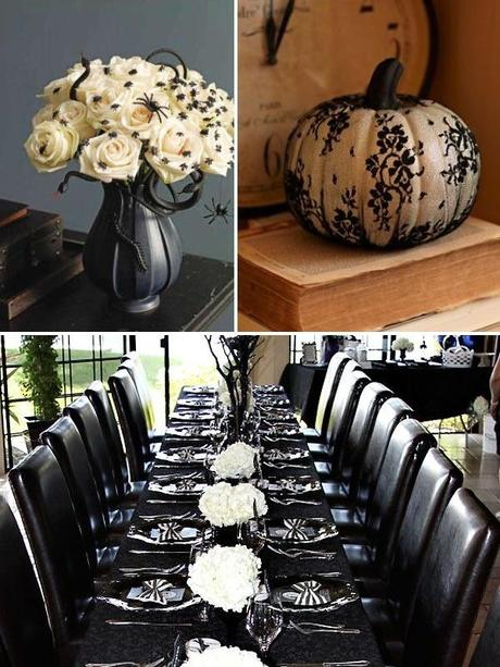 Black and White Halloween Wedding Decor