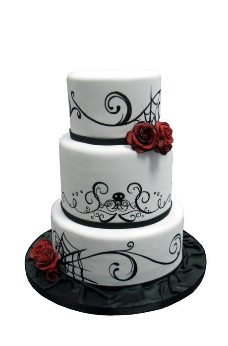 Black and White Wedding Cake with Red Rose Accents
