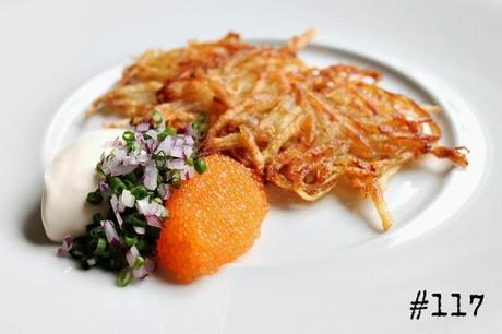 Grated Potato Pancakes with Bleak Roe, Sour Cream and Onions #117 ...