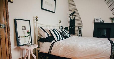Wide Shot Monochrome Bedroom