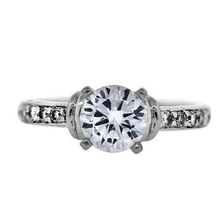 GIA Cert. White Gold .97 CtRound Diamond Engagement Ring