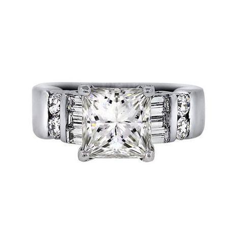 GIA White Gold 2.04 Carat Princess Cut Engagement Ring