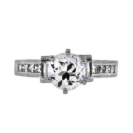 GIA White Gold .99 Ct Diamond Vintage Style Engagement Ring
