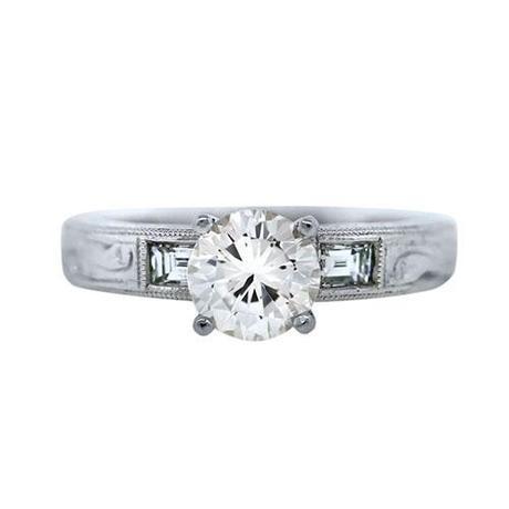 GIA Platinum 1 Carat Vintage Style Diamond Engagement Ring