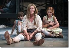 Beatriz (ensemble member Joan Allen, center) is exasperated by The Boy (Daniel Pass, left) and The Girl (Emma Gordon, right) in Steppenwolf Theatre Company's American-premiere production of The Wheel by Zinnie Harris, directed by ensemble member Tina Landau. (photo credit: Michael Brosilow)