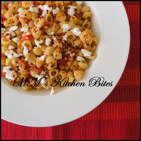 Pasta with Roasted Yellow Pepper, Tomatoes and Feta...quick lunch/dinner