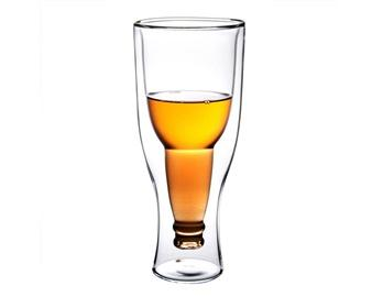 Creative Double Glass-Layer Beer Mug Beverage Juice Cup (Transparent)
