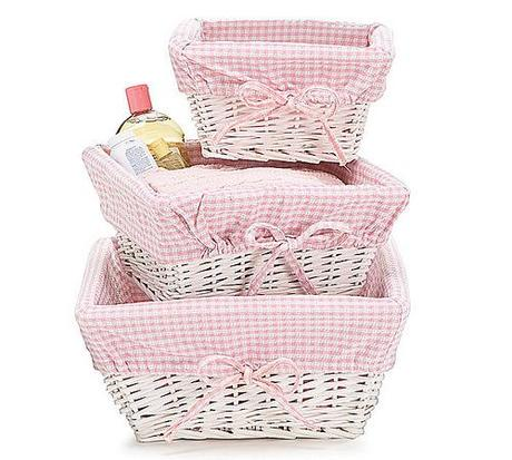 Personalized Pink Gingham Lined Wicker Nesting Baskets by @TheRoyalDetails liked by wickerparadise, visit our wicker furniture selection.